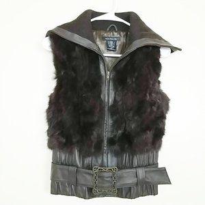 Heart Moon Star Fur Leather Vest  Zip Belted #3106